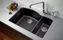 "Blanco Diamond 440197 Drop In or Undermount 33"" x 22"" Double Bowl Single Hole Silgranit Kitchen Sink - Cafe Brown"