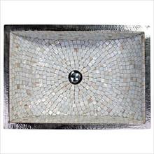 "Linkasink V016 PN Rectangular Crescent Mosaic Drop In or Undermount Sink 21"" X 14"" X 6"" Od - Polished Nickel"