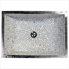 "Linkasink V016 DB Rectangular Crescent Mosaic Drop In or Undermount Sink 21"" X 14"" X 6"" Od - Dark Bronze"