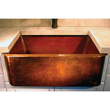 "Linkasink C020-33 WC Copper Farm House Single Bowl Kitchen Sink 33"" X 20"" X 10"" 3.5"" Drain - Weathered Copper"