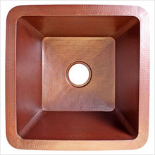 "Linkasink C008 SS Drop In or Undermount Square Copper Kitchen Sink 20"" X 20"" X 10""  - Stainless Steel"