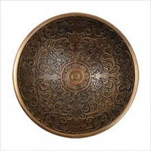 "Linkasink B027 AB Small Round Brocade Bowl Drop in Lavatory or Vessel Sink 14"" X 6.5"" Od Antique Bronze"