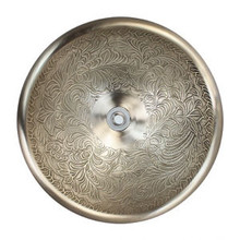 "Linkasink B025 WB Small Round Botanica Bowl Drop in Lavatory or Vessel Sink White Bronze  14"" X 6.5"" Od"