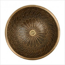 "Linkasink B026 AB Small Round Wing Bowl Drop in Lavatory or Vessel Sink 14"" X 6.5"" Od Antique Bronze"