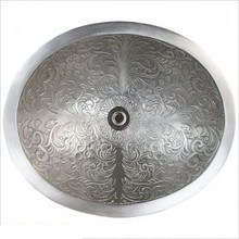 "Linkasink B018 WB Oval Brocade White Bronze Drop in / Undermount Lavatory or Vessel Sink 16.5"" X 13.5"" X 6"""