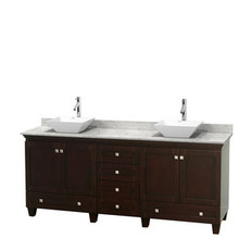 "Wyndham 80"" Double Bathroom Vanity in Espresso & White Carrera Marble Countertop & Pyra White Porcelain Sinks & No Mirrors"