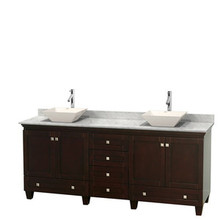 "Wyndham 80"" Double Bathroom Vanity in Espresso & White Carrera Marble Countertop & Pyra Bone Porcelain Sinks & No Mirrors"