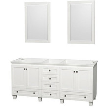 "Wyndham 72"" Double Bathroom Vanity in White, No Countertop, No Sinks & 24"" Mirror"