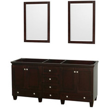 "Wyndham 72"" Double Bathroom Vanity in Espresso, No Countertop, No Sinks & 24"" Mirror"