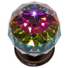 "JVJ 36412 Old World Bronze 40 mm (1 9/16"") Round Faceted 31% Leaded Crystal Door Knob With Prism"
