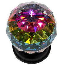 "JVJ 36420 Oil Rubbed Bronze 40 mm (1 9/16"") Round Faceted 31% Leaded Crystal Door Knob With Prism"