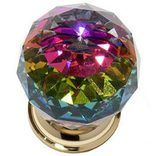"JVJ 36424 24 K Gold Plated 40 mm (1 9/16"") Round Faceted 31% Leaded Crystal Door Knob With Prism"
