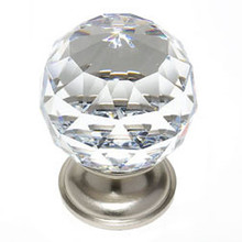 "JVJ 36246 Satin Nickel 40 mm (1 9/16"") Round Faceted 31% Leaded Crystal Door Knob"