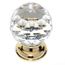 "JVJ 36224 24 K Gold Plated 40 mm (1 9/16"") Round Faceted 31% Leaded Crystal Door Knob"