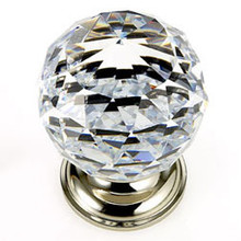 "JVJ 36214 Polished Nickel 40 mm (1 9/16"") Round Faceted 31% Leaded Crystal Door Knob"