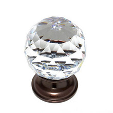 "JVJ 36212 Old World Bronze 40 mm (1 9/16"") Round Faceted 31% Leaded Crystal Door Knob"