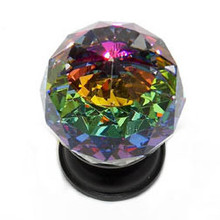 "JVJ 35620 Oil Rubbed Bronze 30 mm (1 3/16"") Round Faceted 31% Leaded Crystal Door Knob With Prism"