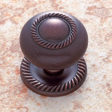 "JVJ 35512 Old World Bronze 1 1/2"" Rope Door Knob With Back Plate"