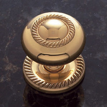 "JVJ 35501 Solid Brass 1 1/2"" Rope Door Knob With Back Plate"