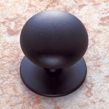 "JVJ 35414 Matte Black Finish 1 1/2"" Plymouth Door Knob With Back Plate"