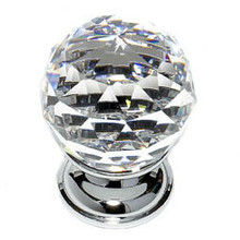 "JVJ 35226 Chrome 30 mm (1 3/16"") Round Faceted 31% Leaded Crystal Door Knob"