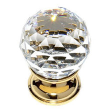 "JVJ 35224 24 K Gold Plated 30 mm (1 3/16"") Round Faceted 31% Leaded Crystal Door Knob"