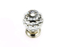 "JVJ 35214 Polished Nickel 30 mm (1 3/16"") Round Faceted 31% Leaded Crystal Door Knob"
