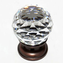 "JVJ 35212 Old World Bronze 30 mm (1 3/16"") Round Faceted 31% Leaded Crystal Door Knob"