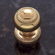"JVJ 34501 Solid Brass 1 1/4"" Rope Door Knob With Back Plate"