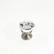 "JVJ 34346 Satin Nickel 22 mm (7/8"") Flat Top 31% Leaded Crystal Door Knob"
