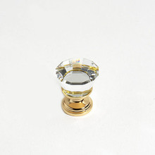"JVJ 34324 24 K Gold Plated 22 mm (7/8"") Flat Top 31% Leaded Crystal Door Knob"