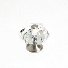 "JVJ 34246 Satin Nickel 30 mm (1 3/16"") 6 Sided 31% Leaded Crystal Door Knob"