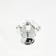 "JVJ 34226 Chrome 30 mm (1 3/16"") 6 Sided 31% Leaded Crystal Door Knob"