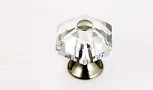 "JVJ 34214 Polished Nickel 30 mm (1 3/16"") 6 Sided 31% Leaded Crystal Door Knob"