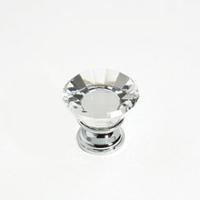 "JVJ 33926 Chrome 30 mm (1 3/16"") Flat Top 31% Leaded Crystal Door Knob"