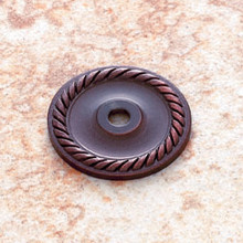 "JVJ 86912 Old World Bronze 1 1/2"" Diameter English Rope Back Plate"