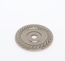 "JVJ 86916 Polished Nickel 1 1/2"" Diameter English Rope Back Plate"