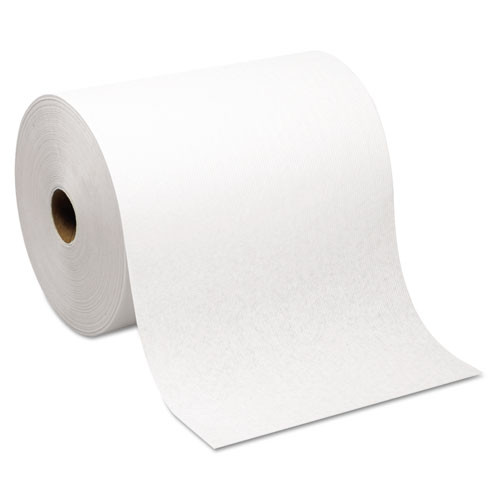 Wausau WAU46300 Ecosoft paper hand towels roll towel nonperforated green seal 1 ply natural white color 8 inches wide 425 foot rolls case of 12 rolls