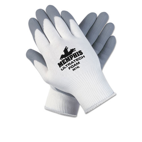 Ultratech foam nylon gloves excellent grip cut and abrasion resistant size extra large 12 pairs of gloves replaces mcr9674xl crews glasses crw9674xldz