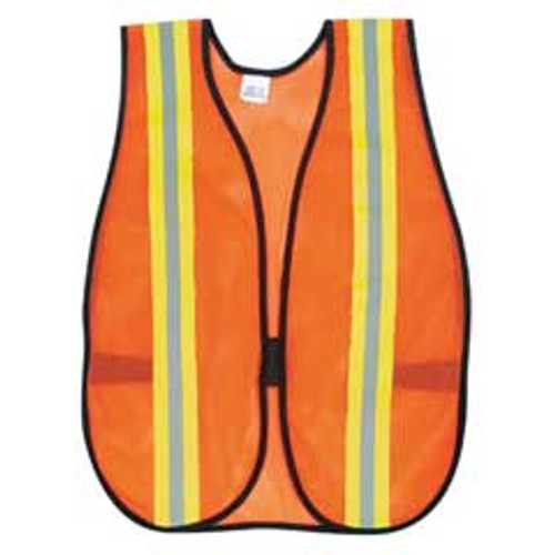Safety vest general purpose polyester mesh orange vest with lime and silver reflective strips 18x47 inches replaces mcrv201r crews glasses crwv201r