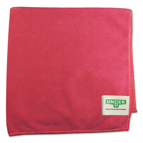 Unger ungmf40r smartcolor microwipes 4000 mf40r heavy duty microfiber cleaning cloths red for restrooms 16x15 inches case of 10