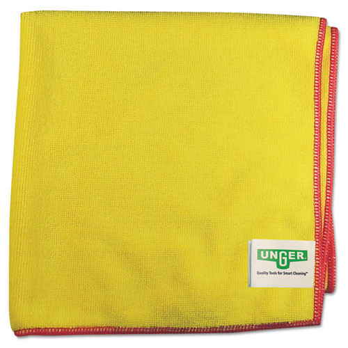 Unger ungmf40y smartcolor microwipes 4000 mf40y heavy duty microfiber cleaning cloths yellow with red trim for restrooms 16x15 inches case of 10