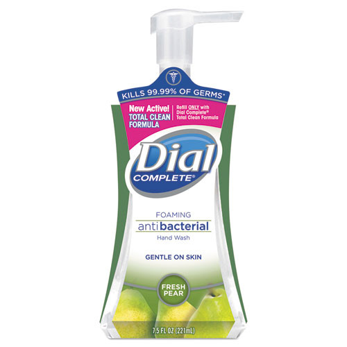 Dial DIA02934CT Complete antibacterial foaming hand wash with lotion Fresh Pear Fragrance 7.5oz pump bottle case of 8 replaces DIA02935