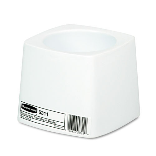 Rubbermaid 6311whi toilet bowl brush holder white plastic base 5 inches diameter replaces rcp6311whi rcp631100we