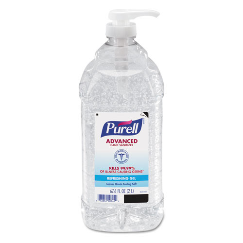 Purell hand sanitizer 2 liter pour or pump bottle case of 4 goj962504ct
