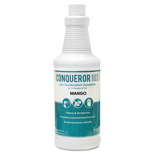 Fresh frs1232wbmg conqueror 103 liquid deodorizer mango 32oz size 2 trigger sprayers in case of 12 bottles