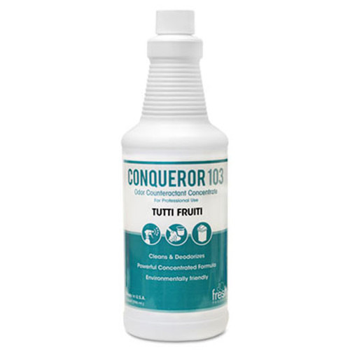 Fresh frs1232wbtu conqueror 103 liquid deodorizer tuti fruti 32oz size 2 trigger sprayers in case of 12 bottles