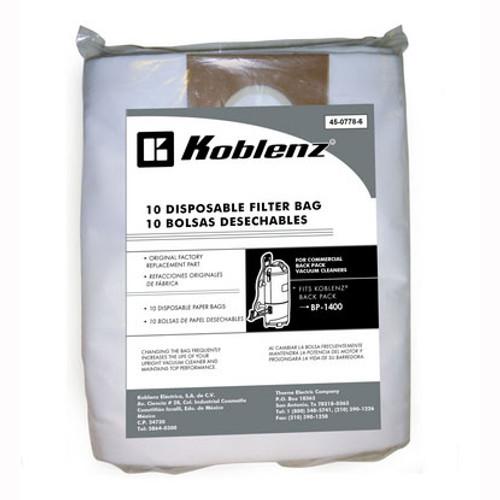 10 Koblenz 4507786 vacuum cleaner bags for Koblenz BP1400 backpack vacuum 10 disposable paper bags gw