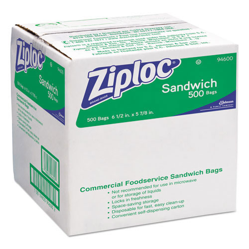 Ziploc sandwich bags ziploc case of 500 bags SJN682255 replaces DVO94600