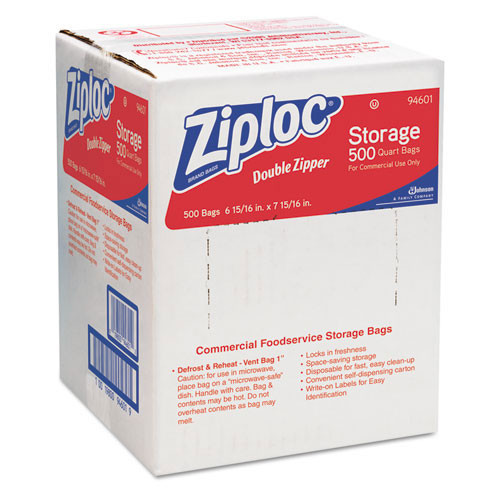 Ziploc storage bags quart 1.75 mil case of 500 bags SJN682256 replaces DVO94601